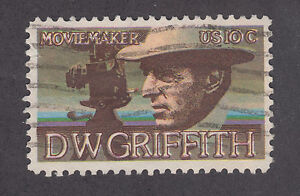 US Sc 1555 used 1975 10c D.W. Griffith, brown color shift