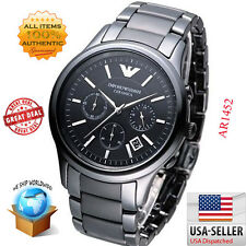 100% Authentic Emporio Armani Chronograph Ceramic Black Dial Men's Watch AR1452