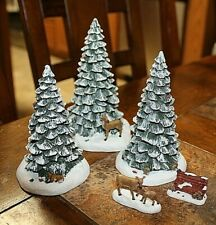 2004 HAWTHORNE VILLAGE - SET OF 3 SNOWY CHRISTMAS TREE'S AND 2 ACCESSORIES