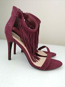 NEW LOOK Ladies Women Tassel High Heel Sandal Shoe Burgundy Suede Size 6 39