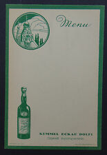 MENU DOLFI KUMMEL ECKAU liqueur liquor vierge French card restaurant vintage
