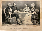 The Washington Family Antique 1867 Currier & Ives Lithograph Print 14X11 AS IS