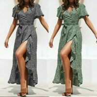Womens Summer Boho Short Sleeve Wrap Long Maxi Dress Party Beach Dress Sundress