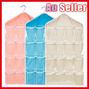 16 Pockets Hanger Rear Holder Wardrobe Hanging Shoes Rack Storage Bag Organizer