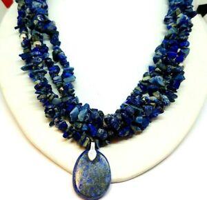"Lapis lazuli  Sterling Silver Necklace 18"" long+1"" pear drop pendant #"