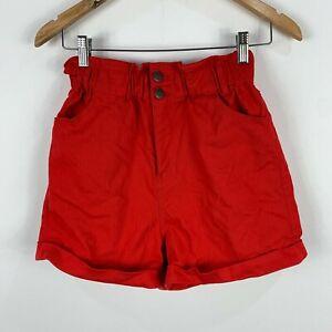 Dangerfield Womens Shorts 8 Red Button Closure High Rise Elastic Waist