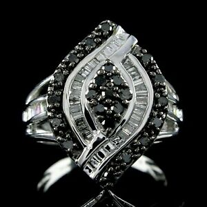 1.08Ctw Round Cut Diamond Marquise Shape Cluster Ring 14k White Gold Over Silver