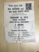 Bill Monroe And His Blue Grass Boys Poster Vinita OK Lions Club Local Musicians