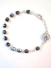 Rosary Bracelet Black Crystal Beads Our Lady of Grace / Divine Mercy Charm Italy