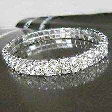 womens 2 Row Silver Stretch Tennis Bright Crystal Rhinestone Wrap Bracelet