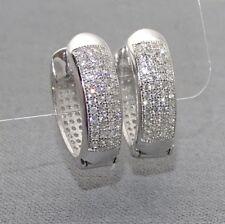 Klapp-Creolen Damen Ohrringe spitz-oval - 925 Sterling Silber Zirkonia + Etui