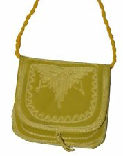 Moroccan Handbag Purse Pouch Shoulder Bag Embroidery Handmade Suede SM Yellow