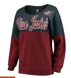 Columbus Blue Jackets New Era Womens sz Large Scoop neck Pullover Sweatshirt