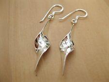 925 Sterling Silver - Beautiful Swirl Twist Shaped  Hook Earrings - 35mm Height