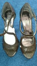 Ladies Clarks Peep Toe Sandals snakeskin size 4 uk - brown partywear