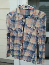 Vanilla Star Womens Acid Splash Plaid Flannel Looking Shirt Size M
