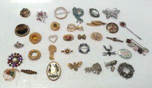 Vintage Pin Brooch Jewellery Bundle Assorted Styles Art Deco Marcasite, A J C