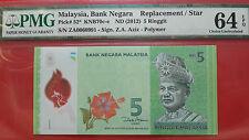12th Series Malaysia RM5 Zeti Replacement Banknote ( ZA0060991 ) - PMG 64EPQ