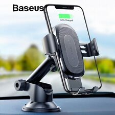 For iPhone 11 Pro Max S20 Baseus Car Mount Holder Stand Qi Wireless Fast Charger