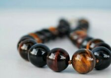 Necklace Chain Collier Tiger Eye and Blue Tiger Eye with Magnetic Clasp