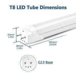 T8 LED Tube Light 2FT/3FT/4FT Fluorescent Shop Lamp Daylight Wall Bulbs Dimmable