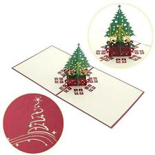 3D Pop Up Origami Greeting Card Handmade Stereoscopic Christmas Tree Invitation