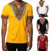 Mens African Ethnic Print Short-Sleeve T-Shirt Tops Casual Fit Shirt Tee Blouse