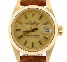 Lady Rolex Datejust Solid 18K Yellow Gold Watch Leather Band Champagne Dial 6917