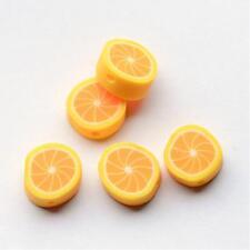 10 Polymer Clay Beads Lemon Fruit Beads 10mm Clay Beads Yellow
