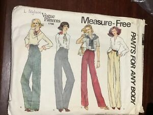Vintage VOGUE Women's Pants For Any Body Pattern 1798 Waist Size 25 Inches