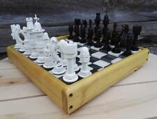 Hand Made Chess Set Steampunk Very Unique Design Wooden Frame Christmas Idea