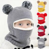 Winter Toddler Baby Kids Boy Girls Warm Beanie Cap Knit Hat Earflap+ Scarf Set