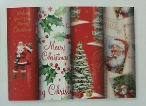 4 Rolls x 5mtrs    Merry Christmas Gift Wrap Traditional 29586