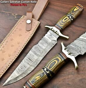 Custom Hand Made Damascus Steel Blade Bowie Hunting Knife | HARD WOOD