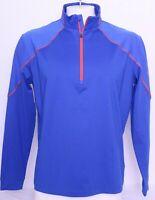 NEW Columbia Blue Golf Active Omni-Wick Panel Long Sleeve 1/4 Zip Pullover Men L