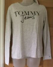 NEW - TOMMY JEANS LADIES GREY SCRIPT LOGO LONG SLEEVE TEE T-SHIRT - SMALL