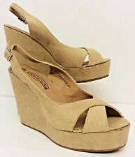 "RETRO 40/50's Vintage Style Wedge shoes Beige with 5"" Wedge Size 40 EU 7 UK Box"