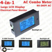 4-in-1 AC Volt Amp kWh Watt Power Monitor Tester Digital Electrical Combo Meter