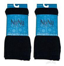 Lot Of 2 Fleece-Lined Leggings Black Opaque Footless Warm Ladies Queen Sz 3X/4X