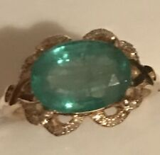Estate 2.85Ct  Natural Emerald & Diamonds 14K Solid Yellow Gold Ring