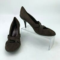 DKNY Heels Women's Size 7.5 B Brown Suede Leather Pumps Crossover Straps New