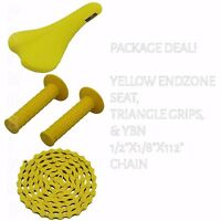 PACKAGE DEAL! BICYCLE SEAT GRIPS CHAIN YELLOW - BIKES BMX ROAD MTB FIXIE CYCLING