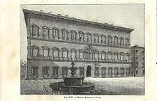 Stampa antica ROMA Veduta di Palazzo Farnese 1889 Old antique print Rome