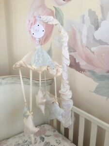 Nava's Design From Bellini Boutique Baby Crib Mobile Ivory / Blue silk