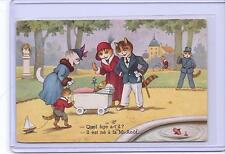 VINTAGE FRENCH DRESSED CATS WITH NEW KITTEN BABY AT PARK POSTCARD M.D. PARIS