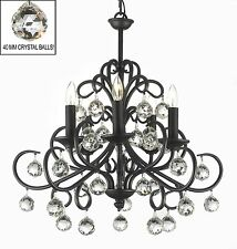 Bellora Crystal Wrought Iron Chandelier Lighting with Faceted Crystal Balls!