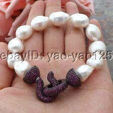 K060109 8'' White Baroque Pearl Bracelet CZ Clasp