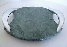 """Marble Green Oval Cheese Board w Stainless Steel Handles. Approx. 11.5"""" Wide"""