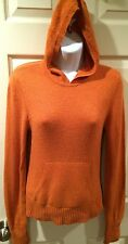 VINCE 100% Cashmere Hoodie Orange Pocket EUC Size M