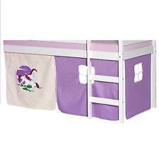 Rideaux cabane pour lit surélevé mi-hauteur tissu coton motif licorne violet